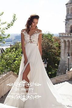 2016 Millanova Boho Beach Lace Wedding Dresses Discount Plus Size A Line Scoop Cap Sleeves Split Long Chiffon Cheap Simple Greek Bridal Gown