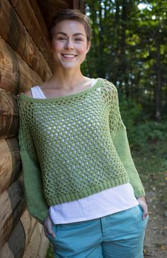 Knitting pattern for Paloverde Pullover - Paloverde is a over-sized easy lace pullover sweater with sleeves knit in stockinette. X-Small, Small, Medium, Large, 1X, 2X One of 6 patterns in Berroco #340, Maya™ Vol 2 which is on sale  (at the time I pinned this) for $1.99 (affiliate link) tba