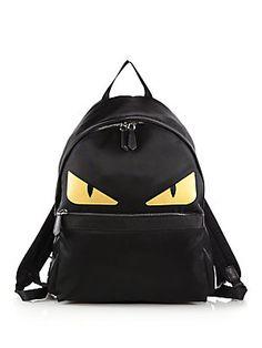 Fendi Nylon Monster Backpack - Yellow-Black