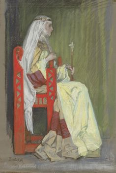 Edwin Austin Abbey - Study, Lady in chair in yellow and green dress Medieval World, Medieval Art, Medieval Clothing, Art And Illustration, Traditional Paintings, Traditional Art, Art Nouveau, Pre Raphaelite, Fashion Painting