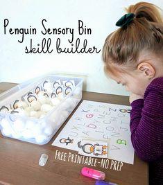 Penguin Sensory Bin Skill Builder Sensory Bins, Sensory Activities, Winter Activities, Activities For Kids, Sensory Play, Upper And Lowercase Letters, Lower Case Letters, Preschool Crafts, Preschool Boards