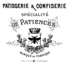 FREE new French Transfer printable (Graphics Fairy)  .. This one dates to the 1880's. It's an antique Advertisement for a French Patisserie, or Pastry Shop.