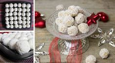 Fitness Raffaello guľky z tvarohu - Receptik. Raffaello Muffins, Raffaello Cupcakes, Holiday Cookies, Holiday Treats, Strawberry Santas, Rum Balls, Coconut Rum, Thumbprint Cookies, Food Themes