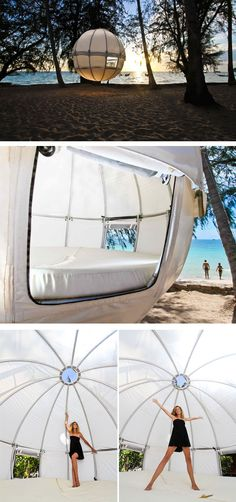Now You Can Sleep In A Suspended Pod Among The Trees // The Cocoon Tree is a spherical structure that can be suspended from trees, allowing you to hang above the ground in a pod.