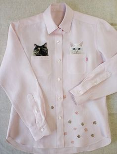 by Hiroko Kubota Kubota, Shirt Embroidery, Embroidered Clothes, Blouse Styles, Diy Clothes, Printed Shirts, Long Sleeve Shirts, Vintage Outfits, Shirt Designs