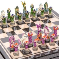 Hand Painted Fantasy Chessmen  Seventh Avenue Carbon Fiber Chess BoardBox with two Drawers >>> Click image to review more details.