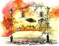 Картинки по запросу акварель город