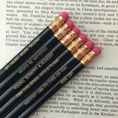 Hamilton Pencil Set at The Carbon Crusader : Cool gifts for the obsessive Hamilton fan | Cool Mom Picks Holiday Gift Guide 2016