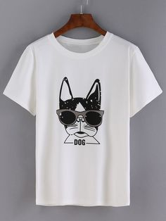 Camiseta perro estampado -blanco