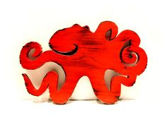 Wooden Octopus Red Pine Wood Sign Wall Decor Rustic by ThePineNuts, $32.00