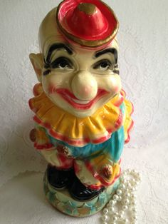 RARE 1940's Chalkware Carnival prize ~ extra large clown piggy bank~ pristine condition - pinned by pin4etsy.com