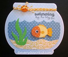 Everyday Cricut Blog - Swimming by to Say Hi Card    I love everything about this card!!