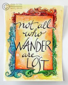 """not All who Wander are Lost"" ~ Doodle Watercolor Art ~ Journal Scrapbook, SMASH book, Project Life, Card, Tag"