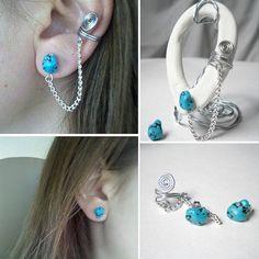 Peacock Earcuff to Stud Earrings Ear Cuffs by StudioEleven11, $10.00