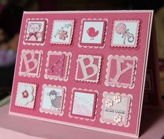 So adorable! The Scallop Square and Postage stamp Punches look great layered on top of one another!