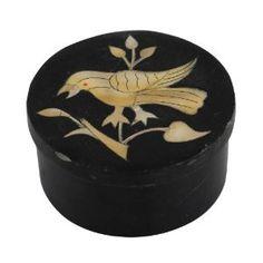 Boîte en pierre noire décor oiseau - Objet design fait main: Amazon.fr: Cuisine & Maison