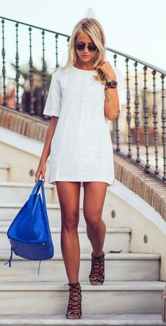 Janni Deler is wearing a white falbala dress from Choies, bag from Celine and lace up shoes from BubbleRoom... | Style Inspiration