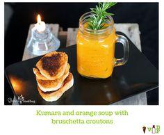 Kumara and orange soup with bruschetta croutons Bruschetta, Vegetarian Recipes, Mason Jars, Soup, Meals, Dishes, Orange, Tableware, Dinnerware