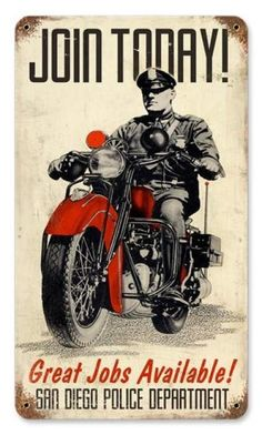 Vintage and Retro Wall Decor - JackandFriends.com - Vintage Police Motorcycle Metal Sign, $35.97 (http://www.jackandfriends.com/vintage-police-motorcycle-metal-sign/)