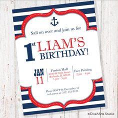 Sailor Birthday Invitation DIGITAL FILE