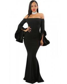Black Off Shoulder Pleated Bell Sleeves Party Evening Maxi Dress – Chicsyou Party Dresses With Sleeves, Party Dresses Uk, Maxi Dress With Sleeves, Maxi Dresses, Dress Party, Prom Dress, Black Off Shoulder, Elegant Woman, Elegant Dresses