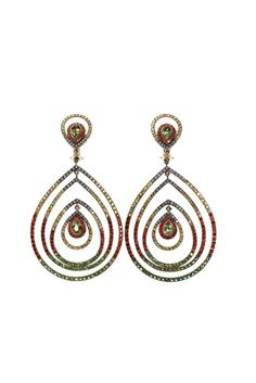 A PAIR OF PERIDOT, DIAMOND, MULTI-GEM AND GOLD EAR PENDANTS, BY ZORAB Each set with 2 pear-shaped peridot within concentric frames set with circular-cut diamonds, yellow, green and orange gems, mounted in 18k gold, two gemstones missing, for pierced ears. Signed Zorab