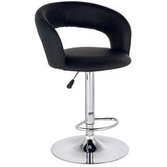 Groove Faux Leather Adjustable Height Black Bar Stool - Style # M2539