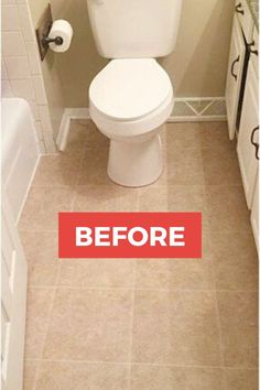 Makeover your bathroom for cheap with these creative diy bathroom flooring ideas. Check out the before and after photos for bathroom ideas and inspiration to update your bathroom floor without a full renovation or remodel. Vinyl Sheet Flooring, Diy Flooring, Bathroom Flooring, Flooring Ideas, Minimalist Home Interior, French Home Decor, Tile Installation, Painted Floors, Diy On A Budget