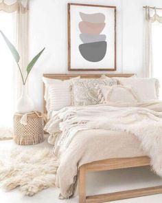 Bedroom Decor For Couples, Room Ideas Bedroom, Cozy Bedroom, Modern Bedroom, Modern Wall, Bedroom Art, Feminine Bedroom, Master Bedroom, Small Minimalist Bedroom