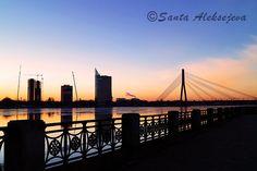 Bridge at sunset in Riga Latvia   Fine Art by BlossomingDream
