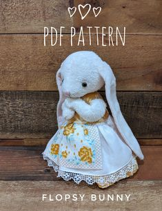 """This sweet little 7"""" (17cm) Flopsy bunny and her adorable apron dress is so much fun to dress and pose! This Flopsy is made of cream Minky fabric, has glass eyes, and a wee stitched nose. Flopsy is fully-jointed and is balanced so she can stand on her own. Pattern includes tutorial style instructions and photos for the bunny, 2 outfits, and 4 ear styles!! Why not make your very own with my quick sew method. More info at sotreasured.com. Hugs, Jean xo Elephant Pattern, Cat Pattern, Free Pattern, Apron Dress, Minky Fabric, Fabric Dolls, Sewing Patterns Free, Bunny Rabbit, Hugs"""