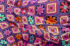 PDF Scrap Happy Floral Granny Square Afghan Crochet Pattern