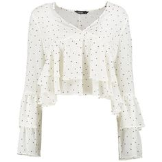 Boohoo Sophie Plunge Ruffle Spot Blouse (€30) ❤ liked on Polyvore featuring tops, blouses, crop top, white polka dot blouse, off-the-shoulder blouses, white cami, off the shoulder crop top and off shoulder blouse