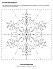 A snowflake template for winter holiday crafts. Paper Snowflake Template, Paper Snowflakes, Christmas Snowflakes, Christmas Art, Christmas Ornaments, Paper Snowflake Patterns, Kirigami, Paper Crafts Origami, Paper Quilling