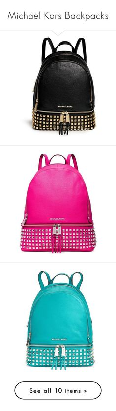 Michael Kors Backpacks by missy-smallen ❤ liked on Polyvore featuring bags, backpacks, backpack, purses, black, bolsa, leather knapsack, black leather backpack, studded backpack and leather rucksack