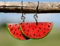 Colorful summer fresh water melon earrings by HorakovaDesigns, $21.00