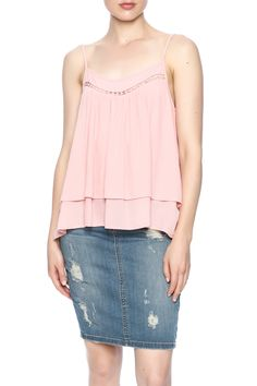 Spaghetti strapped blush tank with an overlay front, scoop neckline and embroidery detailing.   Southern Signature Blush Tank by Karlie. Clothing - Tops - Tees & Tanks Clothing - Tops - Sleeveless North Carolina