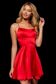 Sherri Hill - Short Scoop Neck Satin Dress 52156 - 1 pc Red In Size 00 Available Red Hoco Dress, Hoco Dresses, Dance Dresses, Satin Dresses, Buy Dress, Cute Dresses, Sexy Dresses, Red Satin Dress Short, Summer Dresses