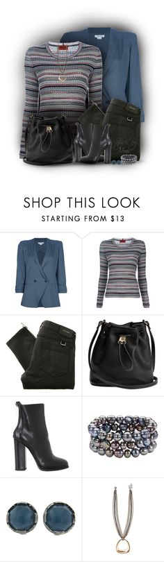 """Blazer + Striped Sweater (1.2.17)"" by stylesbymimi ❤ liked on Polyvore featuring Helmut Lang, Missoni, Belstaff, Giampaolo Viozzi, Honora, Ivanka Trump and Bold Elements"