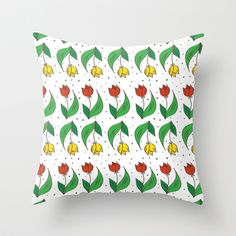 Happy Tulips Throw Pillow by Trapezoid - $20.00