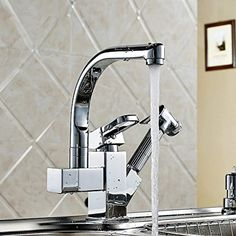 PDD Chrome Brass Double Spouts 360 Degree #touchonkitchensinkfaucets