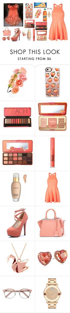 """Peach Love"" by lucyheartyui ❤ liked on Polyvore featuring Forever 21, Casetify, Too Faced Cosmetics, Elizabeth Arden, Oh My Love, Fendi, Origami Jewellery, Betsey Johnson, Ace and Movado"
