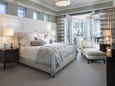 The transitional style. It has the modern lights, dark clean wood and horizontal stripped curtains. ( the modern). It also has the traditional shaped furniture. There are clean whites and grays with moldings.
