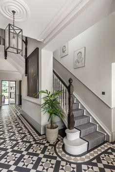 Tiled Hallway, Hall Tiles, Modern Hallway, Victorian Hallway Tiles, Edwardian Hallway, Edwardian Staircase, Dado Rail Hallway, 1930s Hallway, Victorian Mosaic Tile