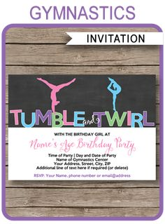 INSTANT DOWNLOADS of Gymnastics Party Invitations. Personalize the printable template easily at home and get your Gymnastics birthday party started now!