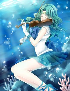 Hello, I'm Sailor Neptune(Michiru). I live in Japan and fight evil with my best friend, Sailor Uranus. When I am not a super hero I enjoy playing the violin. My girlfriend is Sailor Uranus. I am 17