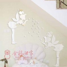 free shipping(1 set) fairy with stars PS wall decal,1MM thickness 3D mirror stickers,35 stars home decor,kids bedroom decoration