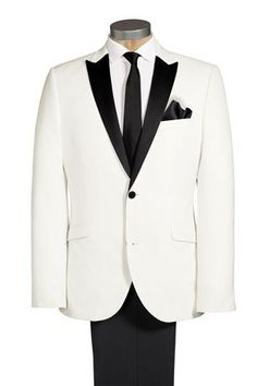 If my husband doesn't wear his dress blues at our wedding then I want him to wear this White Tuxedo Slim Fit Suit.