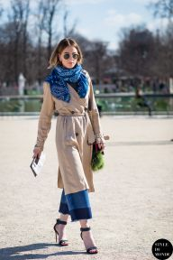 Noor De Groot of Queen Of Jet Lags after Carven fashion show. Shop this look (or similar) here: Trench coat: A.P.C. ATELIER DE PRODUCTION ET DE CRÉATION Greta cotton-gabardine trench coat Culottes: Whistles Denim Culottes Scarf: Pieces Joali Oversized Scarf STYLE DU MONDE on Instagram