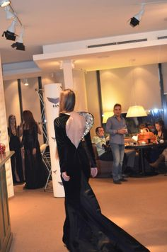 Gorgeous black velvet long dress with diamonds and crystals architectural back from Mirela Fraser Fe[Male]